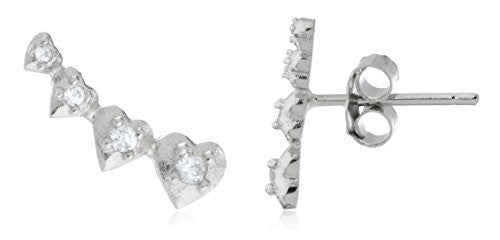 Real 925 Sterling Silver Mini Multiple Hears Ear Crawlers Stud Earrings With CZ Stones