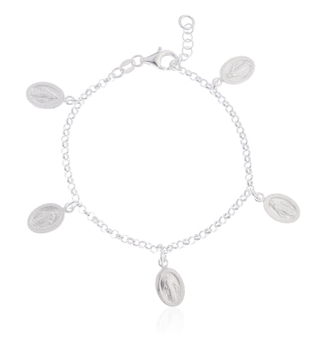 Real 925 Sterling Silver Miraculous Regina Sine Labe Originali OPN Adjustable Charm Bracelet