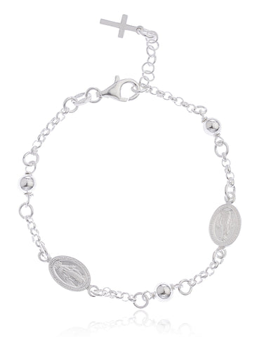 Real 925 Sterling Silver Miraculous Regina Sine Labe Originali OPN And Cross Adjustable Charm Beaded Bracelet