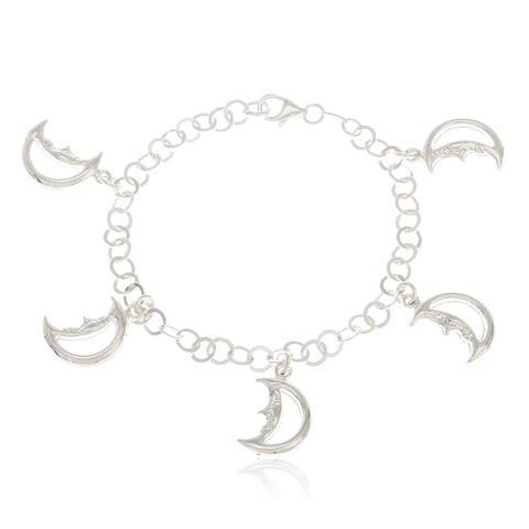 Real 925 Sterling Silver Moon Charmed 7 Inch Bracelet