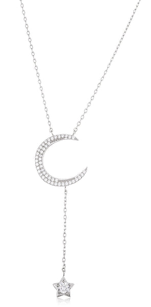 Real 925 Sterling Silver Moon Pendant With Dangling Star With Cz Stones And An 18 Inch Link Necklace