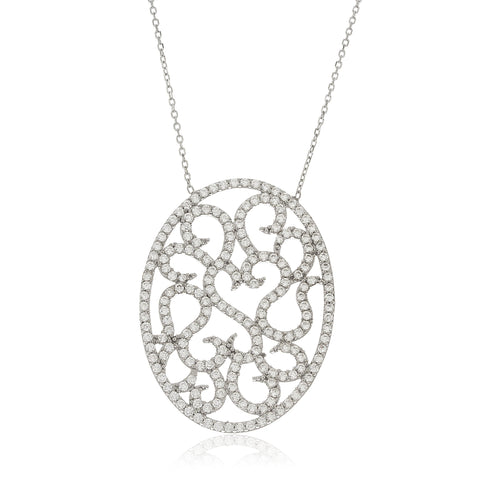 Real 925 Sterling Silver 'Much Love' Large Oval Pendant With Cz Stones And A 15 Inch Link Necklace