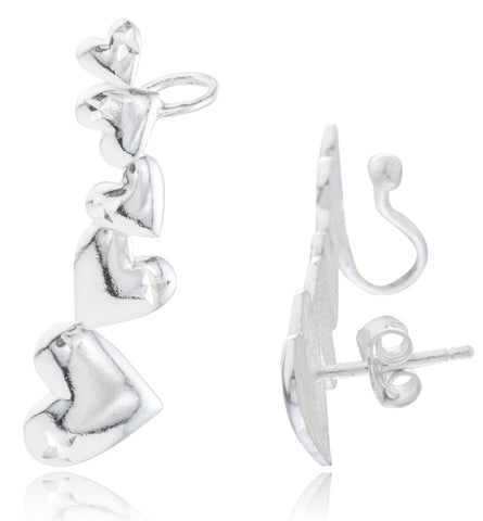 Real 925 Sterling Silver Multi Heart Stud And Cuff Earrings