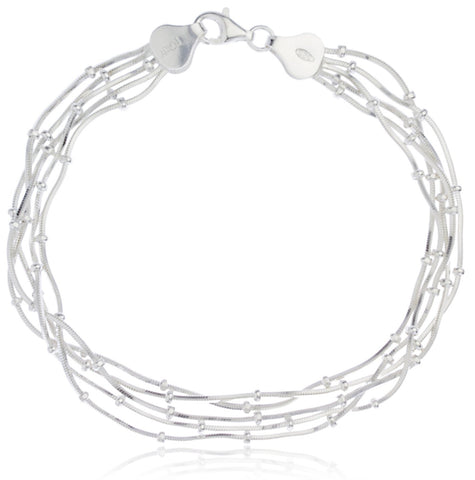 Real 925 Sterling Silver Multi Layer Beaded Snake Chain Design Bracelet