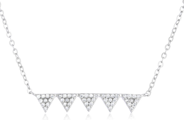 Real 925 Sterling Silver Multi Triangle Pendant With Cz Stones Adjustable 16 Inch Link Necklace