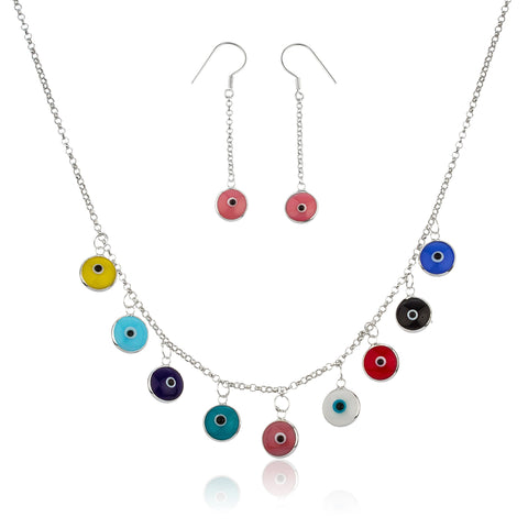 Real 925 Sterling Silver Multicolor Evil Eye Charm Pendant 17 Inch Necklace With Matching Earrings Set
