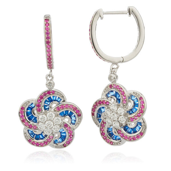 Real 925 Sterling Silver Multicolor Flower Earrings With Baguette And Cubic Zacornia Stones