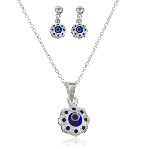 Real 925 Sterling Silver Navy Blue Evil Eye Pendant Necklace With Matching Earrings Set