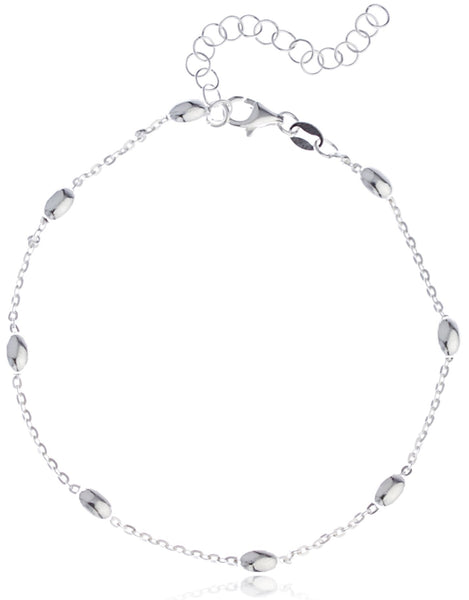 Real 925 Sterling Silver Oval Beaded Charms 9 Inch Adjustable Link Chain Anklet