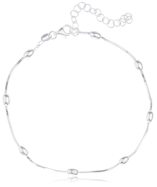 Real 925 Sterling Silver Oval Beaded Charms 9 Inch Adjustable Snake Chain Anklet