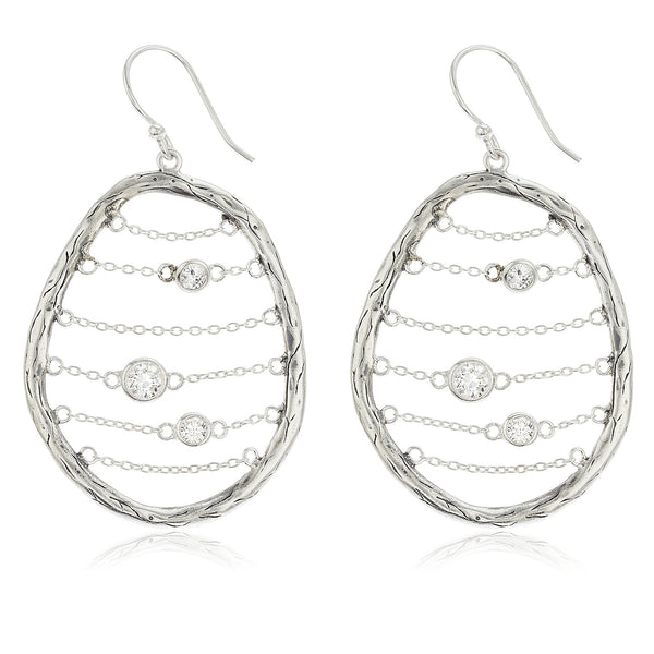 Real 925 Sterling Silver Oval Chain Basket With Cz Stones Dangle Earrings