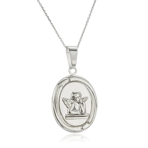 Real 925 Sterling Silver Oval Cherub Pendant With An 18 Inch Chain Necklace