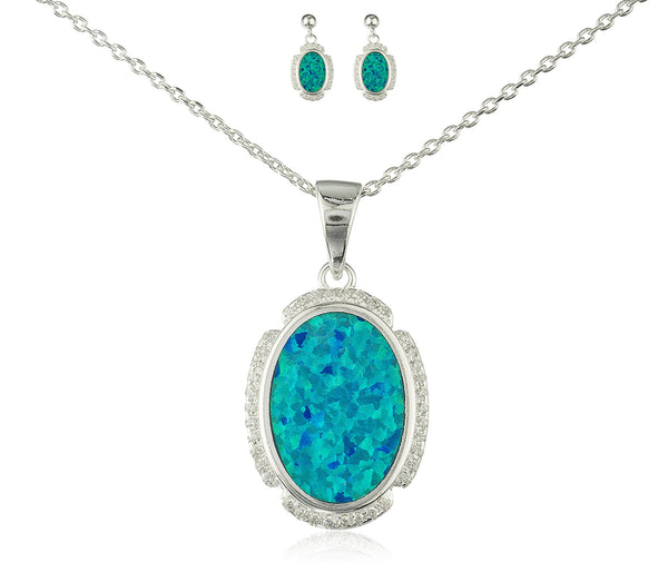 Real 925 Sterling Silver Oval Created Opal Necklace With Cz Stones And Matching Stud Earrings Jewelry Set (Blue)