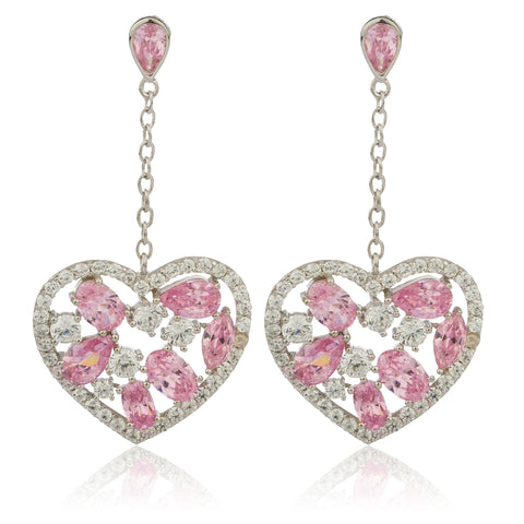 Real 925 Sterling Silver Pink Heart Dangling Earrings With Cubic Zacornia Stones