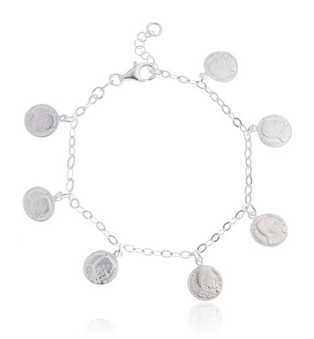 Real 925 Sterling Silver Pope John Paul II Coin Charm Adjustable Bracelet