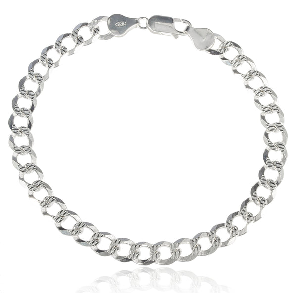 Real 925 Sterling Silver Prolux 7mm 9 Inch Cuban Pave Bracelet