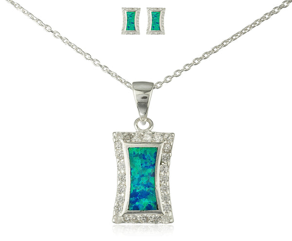 Real 925 Sterling Silver Rectangular Created Opal Necklace With Matching Earrings Jewelry Set (Turquoise)