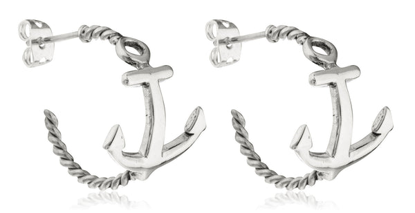 Real 925 Sterling Silver Rope Style Hoop Earrings With Anchor