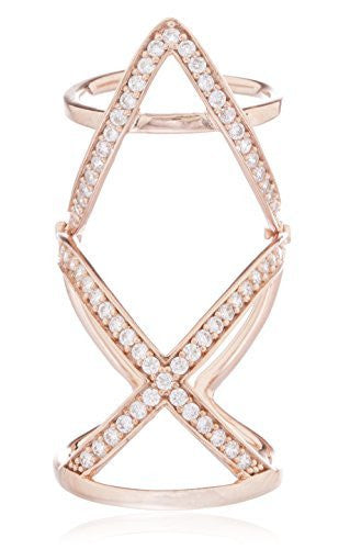 Real 925 Sterling Silver Rose Gold-Tone Colored Fancy Full Knuckle Midi Finger Ring With Cubic Zirconia Stones