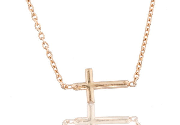 Real 925 Sterling Silver Rose-Goldtone Cross Pendant With A 17 Inch Link Necklace