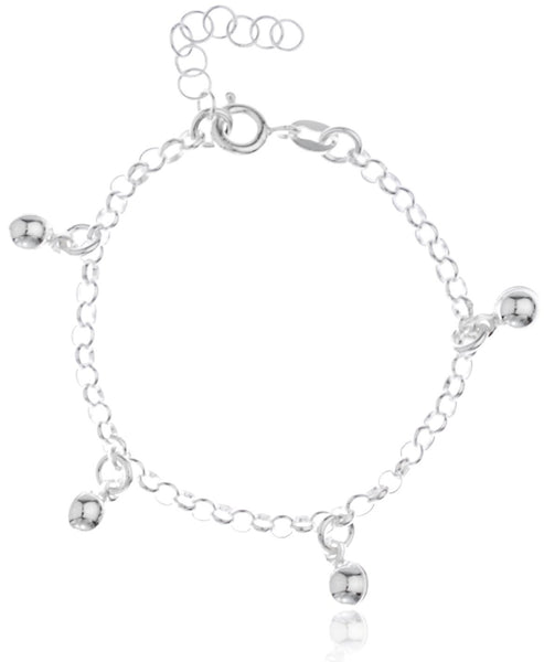 Real 925 Sterling Silver Round Ball Charms Adjustable 6 Inch Baby Bracelet