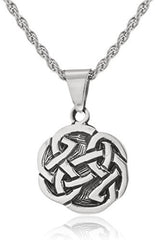 Real 925 Sterling Silver Round Celtic Knot Pendant With A 24 Inch Rope Necklace