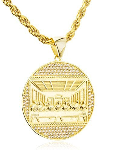 Real 925 Sterling Silver Round 'Jesus Last Supper' Pendant With Cz Stones And A 3mm 24 Inch Rope Necklace (vermeil)