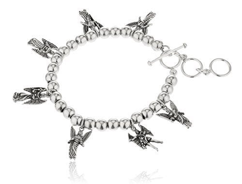 Real 925 Sterling Silver Saint Angels Charms Toggle Adjustable 8 Inch Bracelet