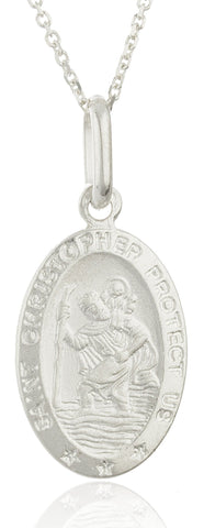 Real 925 Sterling Silver Saint Christopher Protect Us Oval Pendant With An 18 Inch Link Necklace