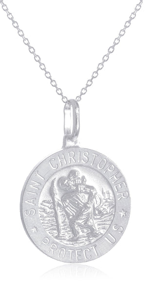 Real 925 Sterling Silver Saint Christopher Protect Us Round Pendant With An 18 Inch Link Necklace - Available In Small, Medium And Large Size Pendant (Medium)