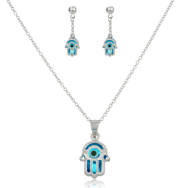 Real 925 Sterling Silver Sapphire Blue Hamsa Hand And Eye Pendant Necklace With Matching Earrings Set