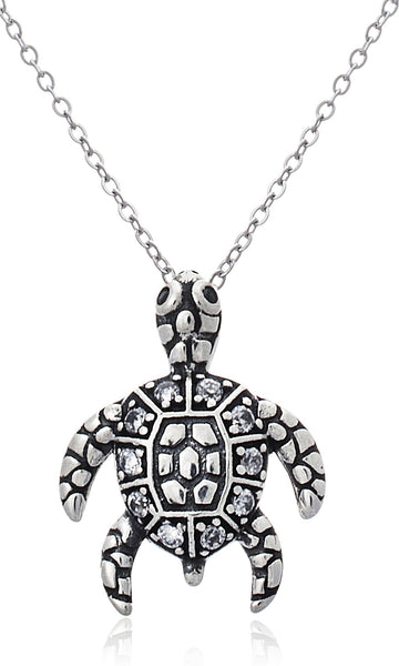 Real 925 Sterling Silver Sea Turtle Pendant With An 18 Inch Rolo Necklace