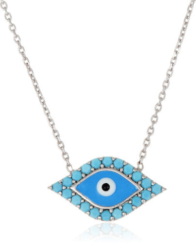 Real 925 Sterling Silver Shades Of Blue Evil Eye Enamel Pendant With An 18 Inch Necklace