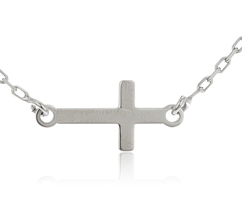 Real 925 Sterling Silver Sideways Cross Pendant With An 18 Inch Cable Necklace