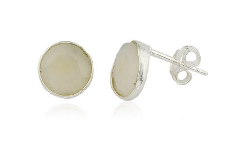 Real 925 Sterling Silver Simulated Crystal Clear Round Stone Earrings