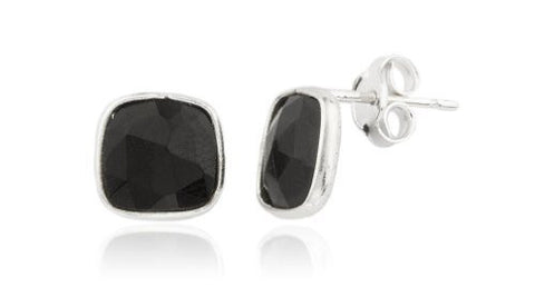 Real 925 Sterling Silver Simulated Onyx Square Stone Earrings