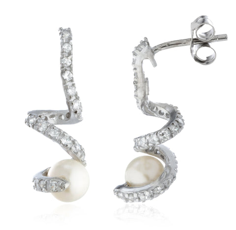 Real 925 Sterling Silver Simulated Pearl With Siwrled CZ Stones Stud Earrings