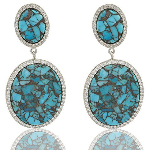 Real 925 Sterling Silver Simulated Turquoise 2.5 Inch Stud Earrings