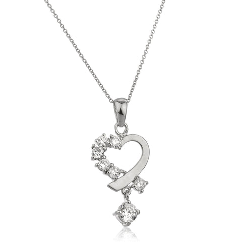 Real 925 Sterling Silver Small Dangling Heart Charm Pendant With Cz Stones And An 18 Inch Link Necklace
