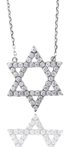 Real 925 Sterling Silver Small Jewish Star Pendant With A 16 Inch Adjustable Link Necklace