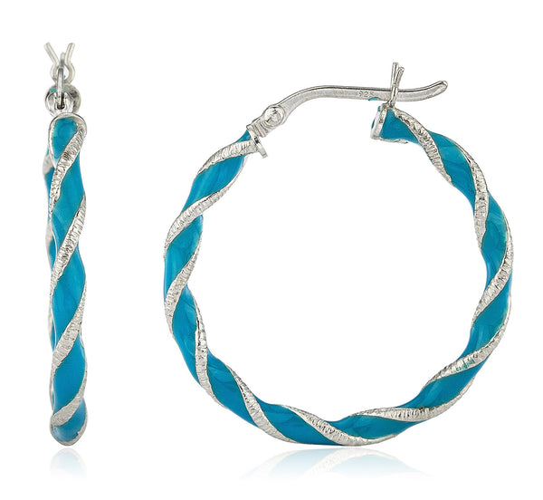 Real 925 Sterling Silver Spiral Rigid 1.25 Inch Blue Enamel Hoop Earrings