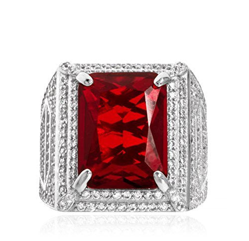 Real 925 Sterling Silver Square Red Gemstone With Cz Stones Ring