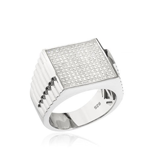 Real 925 Sterling Silver Square With Cz Stones Ring
