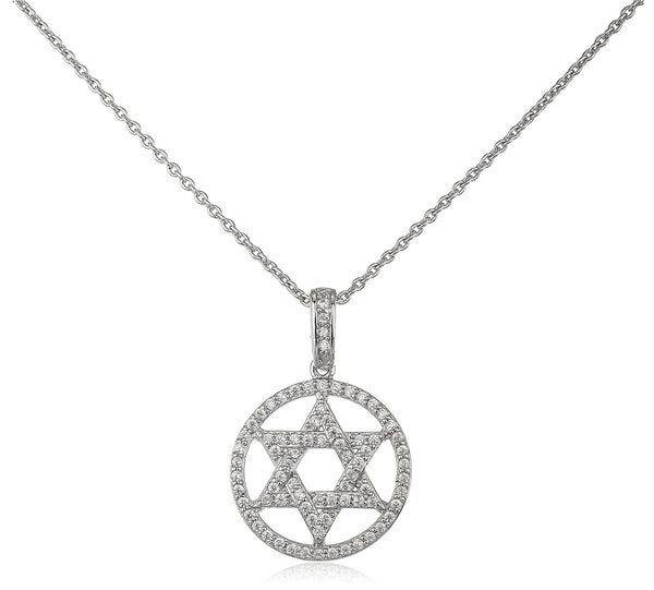 Real 925 Sterling Silver Star Of Daivd Pendant With Cz Stones And A 16 Inch Adjustable Link Necklace