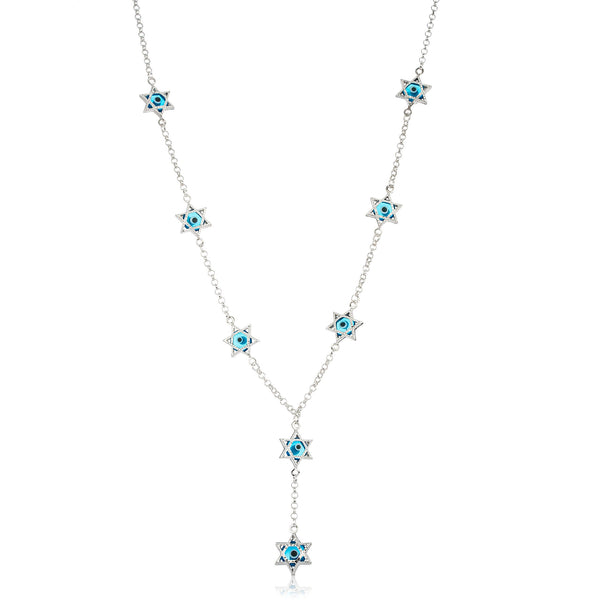 Sterling Silver Star Of David With Sapphire Blue Evil Eye Necklace