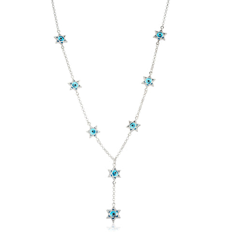 Real 925 Sterling Silver Star Of David With Sapphire Blue Evil Eye 17.5 Inch Charm Necklace