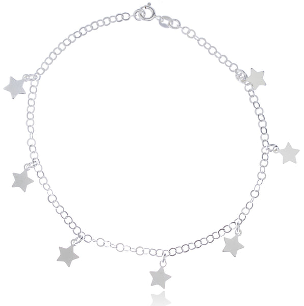 Real 925 Sterling Silver Stars Charms 9.5 Inch Adjustable Link Chain Anklet