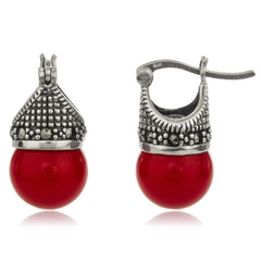 Real 925 Sterling Silver Swiss Marcasite Lady Di Style Earrings With Cz And Red Simulated Pearl