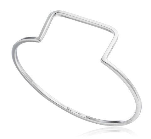 Real 925 Sterling Silver Symmetrical Shape Large Bangle Bracelet - For Large Wrists