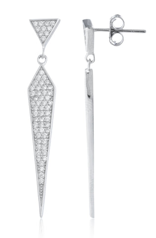 Real 925 Sterling Silver Symmetrical Triangle Dangling Stud Earrings With CZ Stones
